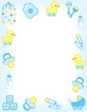 Baby border. Baby boy accessories border including carriage, safety pins, pacifier, feeding bottle, duck, rattle, mobile colorful graphics. vector available vector illustration