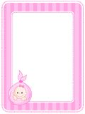 Baby border / frame. Cute pink striped frame / border with baby Stock Image