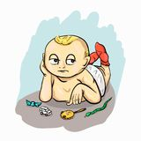 A little boy who`s so bored. The baby is bored , he is not interested in toys and candy royalty free illustration