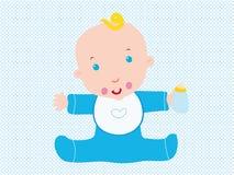 Baby Born. Baby birthday blu born bottle boy card cartoon child circles cute decoration infant kid little male milk Stock Photography