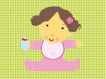 Baby Born. Baby birthday born bottle card cartoon child circles cute decoration female girl infant kid little milk pink Stock Images