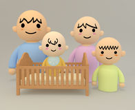 Baby is born. New family members. Everyone will smile. Cartoon-style illustrations. Images created in 3D Stock Images