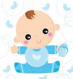 Baby born. Illustration of sweet baby born with bottle Stock Photography