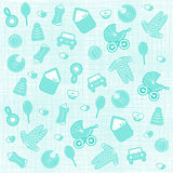 Baby born background. In blue color Royalty Free Stock Photos
