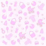 Baby born background. In pink color Royalty Free Stock Images
