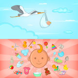 Baby born banner set horizontal, cartoon style Royalty Free Stock Photos