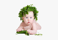 Baby born from cabbage. The child the fan of vegetables royalty free stock photo