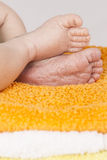 Baby born feet. Cute Baby born feet, close up Royalty Free Stock Images