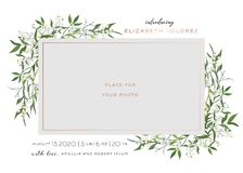Baby Born Greeting Card with Floral Elements. Baby Shower Template Photo Frame with Lily Flowers. Newborn Child, Wedding. Invitation Save the Date Card with stock illustration