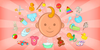 Baby born horizontal banner, cartoon style Royalty Free Stock Images