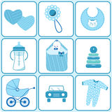 Baby born icons in blue color. Things for babies Stock Photography