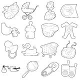 Baby born icons set, cartoon outline style Stock Photography