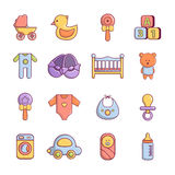 Baby born icons set, cartoon style Stock Images