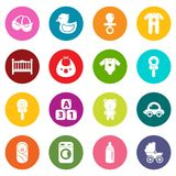 Baby born icons set colorful circles vector. Baby born icons set vector colorful circles isolated on white background Stock Images