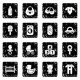Baby born icons set grunge vector. Baby born icons set vector grunge isolated on white background Stock Photography