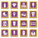 Baby born icons set purple square vector. Baby born icons set vector purple square isolated on white background Stock Photography
