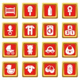Baby born icons set red square vector. Baby born icons set vector red square isolated on white background Royalty Free Stock Image