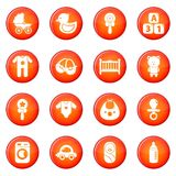 Baby born icons set red vector. Baby born icons set vector red circle isolated on white background Stock Images