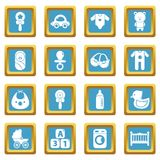 Baby born icons set sapphirine square vector. Baby born icons set vector sapphirine square isolated on white background Royalty Free Stock Images