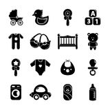 Baby born icons set, Simple style. Baby born icons set. Simple illustration of 16 baby born vector icons for web Royalty Free Stock Photos