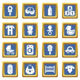 Baby born icons set blue square vector. Baby born icons set vector blue square isolated on white background Royalty Free Stock Photography