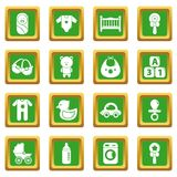 Baby born icons set green square vector. Baby born icons set vector green square isolated on white background Stock Images