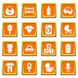 Baby born icons set orange square vector. Baby born icons set vector orange square isolated on white background Stock Images