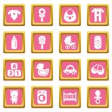 Baby born icons set pink square vector. Baby born icons set vector pink square isolated on white background Royalty Free Stock Photography