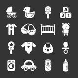 Baby born icons set grey vector. Baby born icons set vector white isolated on grey background Royalty Free Stock Images