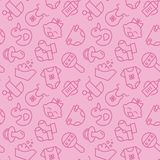 Baby born related pink seamless pattern - outline icons of newborn accessories elements in cute backdrop. Baby born related pink seamless pattern - outline vector illustration