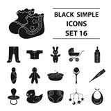 Baby born set icons in black style. Big collection of baby born vector symbol stock illustration. Baby born set icons in black design. Big collection of baby stock illustration