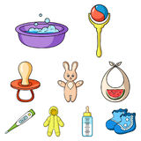 Baby born set icons in cartoon style. Big collection of baby born vector symbol stock illustration. Baby born set icons in cartoon design. Big collection of baby vector illustration