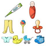 Baby born set icons in cartoon style. Big collection of baby born vector symbol stock illustration. Baby born set icons in cartoon design. Big collection of baby stock illustration