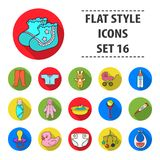 Baby born set icons in flat style. Big collection of baby born vector symbol stock illustration. Baby born set icons in flat design. Big collection of baby born stock illustration