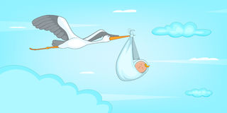 Baby born stork horizontal banner, cartoon style Stock Images