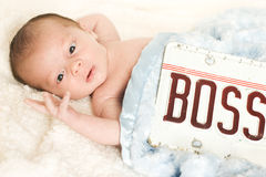 This Baby is Boss! Cute Child Looking at Fingers Stock Images