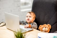Baby boss at the office royalty free stock photos