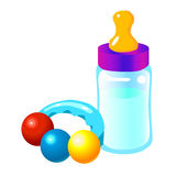 Baby bottle. And baby toy Royalty Free Stock Photo