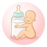 Baby with a bottle. Baby with a baby bottle. EPS 10 vector illustration stock illustration