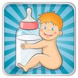 Baby with a bottle. Baby with a baby bottle. EPS 10 vector illustration vector illustration