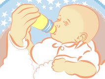 Baby with bottle Stock Images