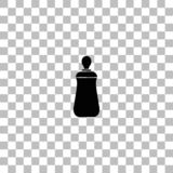 Baby bottle icon flat. Baby bottle. Black flat icon on a transparent background. Pictogram for your project royalty free illustration
