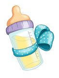 Baby bottle with blue bow Royalty Free Stock Image