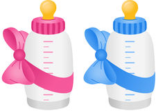 Baby bottle with bow tie. Scalable vectorial image representing a baby bottle with bow tie, isolated on white Royalty Free Stock Photography