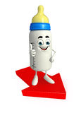 Baby Bottle character with Arrow Stock Image