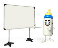 Baby Bottle character with display board Stock Image