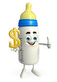 Baby Bottle character with dollar sign Royalty Free Stock Image