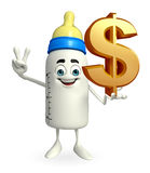 Baby Bottle character with dollar sign Stock Photo