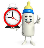 Baby Bottle character with table clock Stock Photo