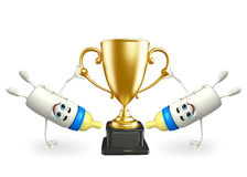 Baby Bottle character with trophy Stock Image